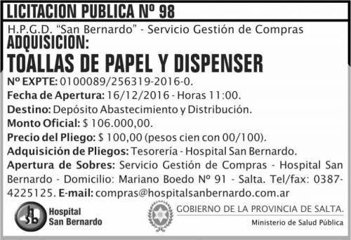 Licitación: Licitación Pública Nº 98