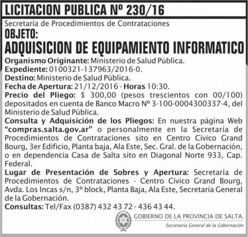 Licitación: Licitación Pública Nº 230/16