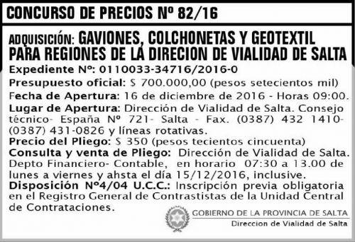 Licitación: CONCURSO DE PRECIOS 82
