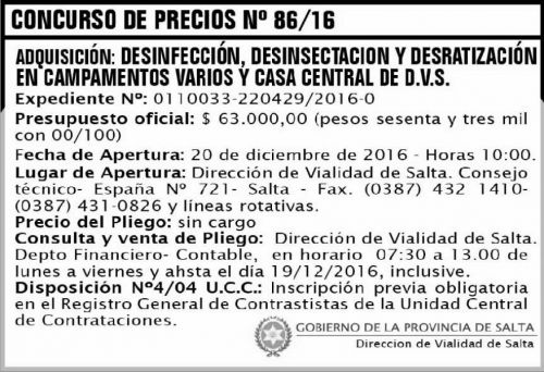 Licitación: CONCURSO DE PRECIOS 86
