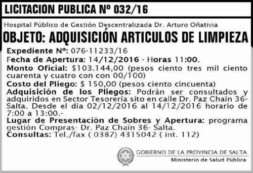 Licitación: LICITACIÓN PUBLICA 032