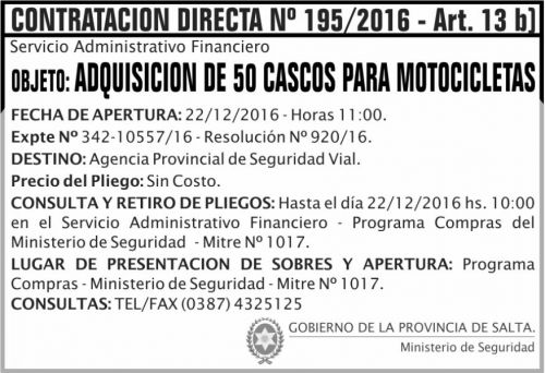 Compra Directa: Contratación Directa Nº 195/2016 Art. 13 b.
