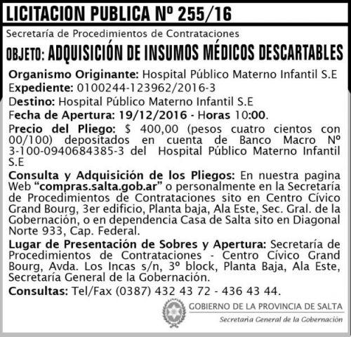Licitación: Licitación Pública Nº 255/16