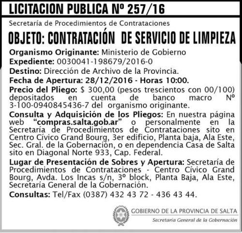 Licitación: Licitación Pública Nº 257/16