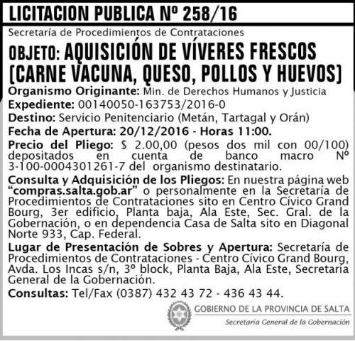 Licitación: Licitación Pública Nº 258/16