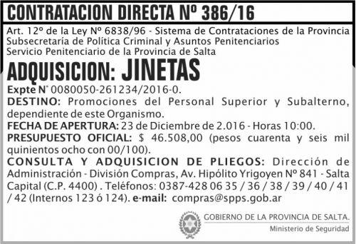 Compra Directa: Contratación Directa Nº 386/16