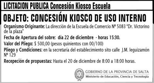 Licitación: Licitación Pública - Concesión Kiosco Escuela