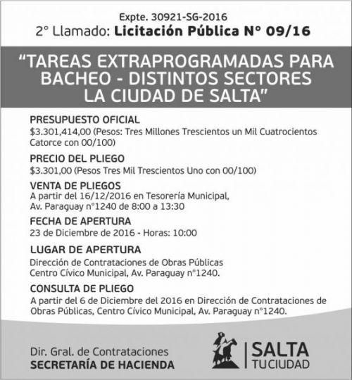 Licitación: Licitación Pública Nº 09/16