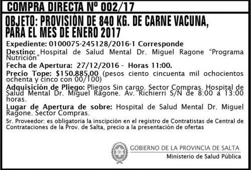 Compra Directa: Compra Directa Nº 0002/17