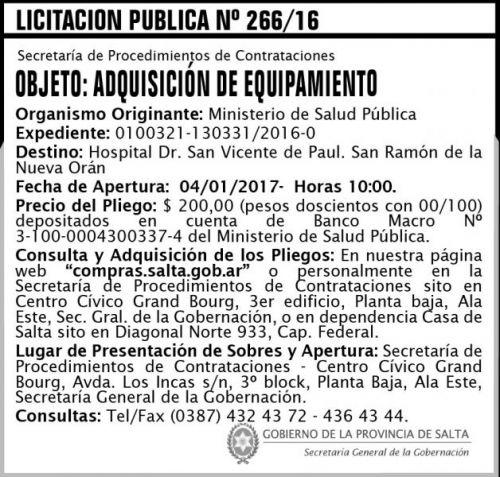 Licitación: Licitación Pública Nº 266/16