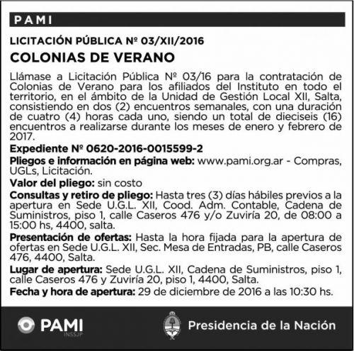 Licitación: Licitación Pública Nº 03/XII/2016