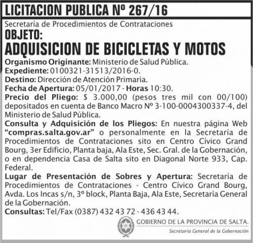 Licitación: Licitación Pública Nº 267/16