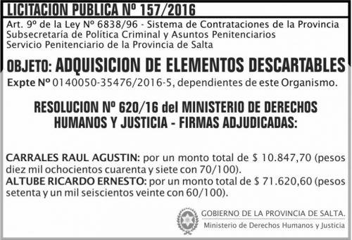 Licitación: Licitación Pública Nº 157/16