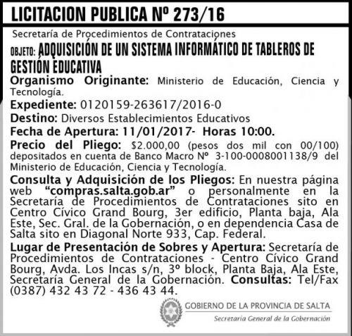 Licitación: Licitación Pública N° 273/16