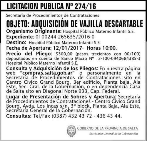 Licitación: Licitación Pública N° 274/