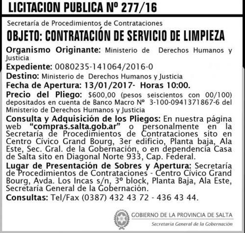 Licitación: Licitación Pública N° 277/16