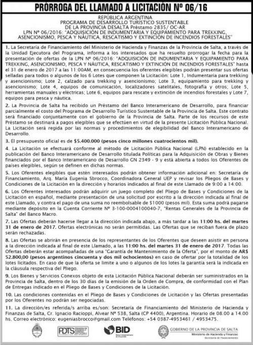 Licitación: Licitación Pública Nº 06/16
