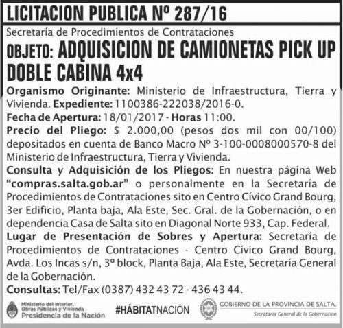 Licitación: LICITACION PUBLICA 287/16
