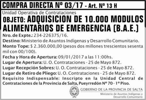 Licitación: COMPRA DIRECTA 03/17