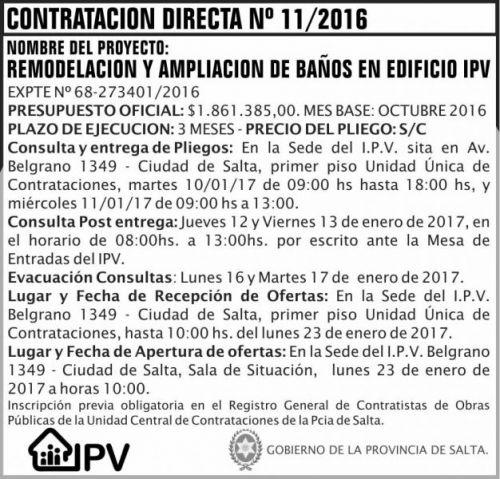 Licitación: CONTRATACIÓN DIRECTA N 11/16