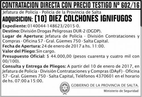 Concurso de Precios: CONTRATACION DIRECTA CON PRECIO TESTIGO