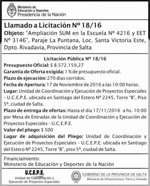 Licitación: Ampliación SUM de escuela N° 4216 y EET N°3146
