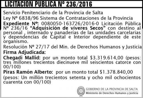 Licitación: Licitación Pública Nº 236/2016