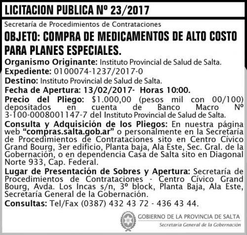 Licitación: Licitación Pública Nº 23/2017