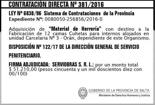 Edictos / Comunicados: Contratación Directa Nº 381/2016