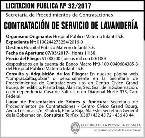 Licitación: Licitación Pública N° 32/2017