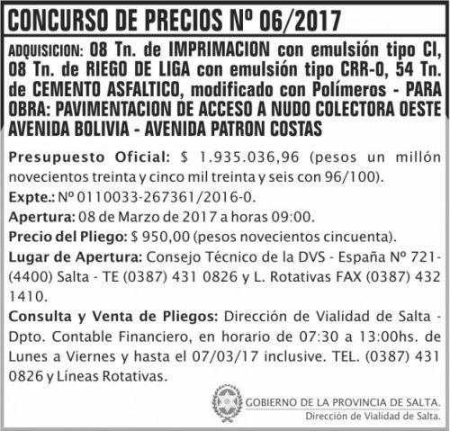 Concurso de Precios: Concurso de Precios Nº 06/2017