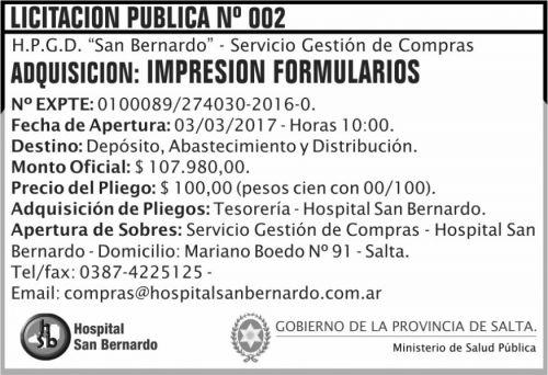 Licitación: Licitación Pública Nº 002