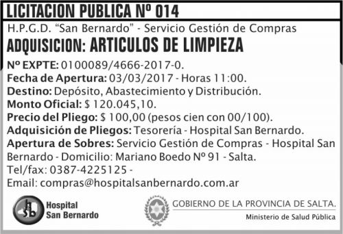 Licitación: Licitación Pública Nº 014