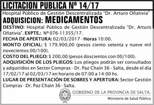 Licitación: Licitación Pública Nº 14/17