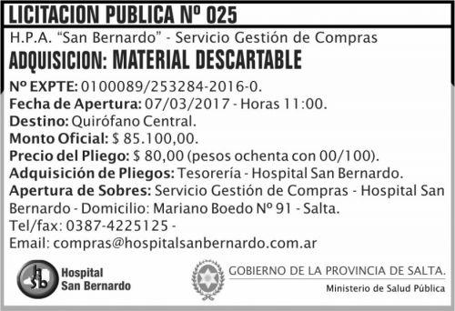 Licitación: Licitación Pública Nº 025
