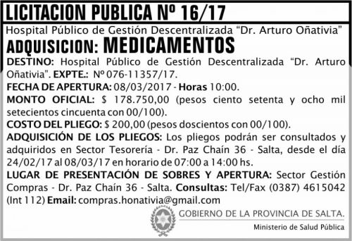 Licitación: Licitación Pública Nº 16/17