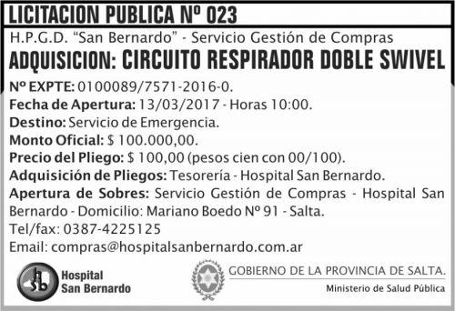 Licitación: Licitación Pública Nº 023