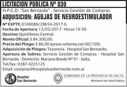 Licitación: Licitación Pública Nº 030