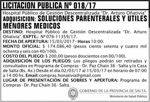 Licitación: Licitación Pública 018 MSP Oñativia