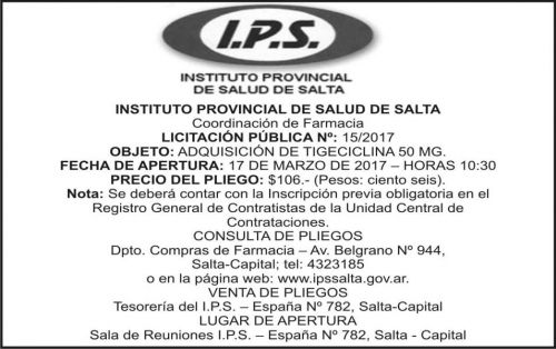 Licitación: LICITACION PUBLICA 15/2017 IPS