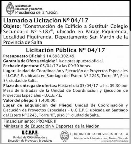 Licitación: Licitacion Publica 04/17 MEDN UCEPE