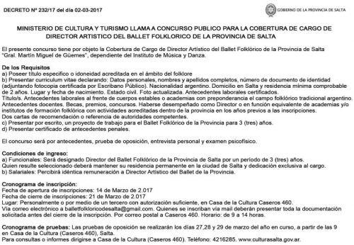 Concurso de Precios: CONCURSO PUBLICO PARA COBERTURA DEL CARGO DE DIRECTOR ARTISTICO