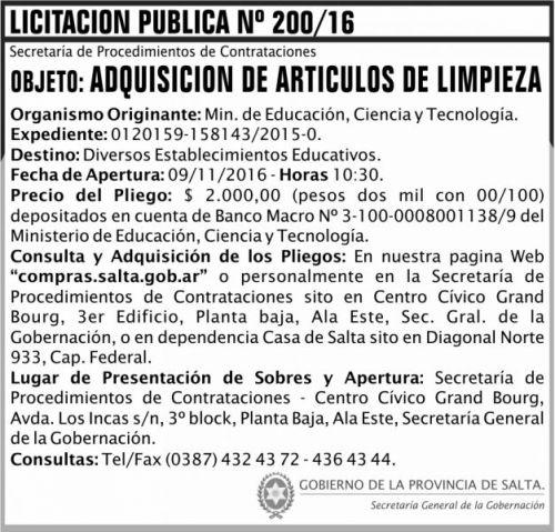 Licitación: Licitación Pública Nº 200/16