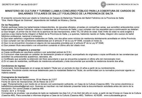 Concurso de Precios: CONCURSO PUBLICO PARA COBERTURA DEL CARGO DE BAILARINES TITULARES