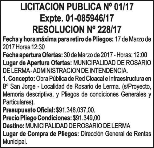 Licitación: LICITACION PUBLICA Nº 01/17 Rosario de Lerma
