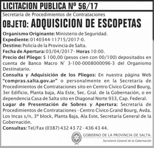 Licitación: Licitacion Publica 56 SGG MS