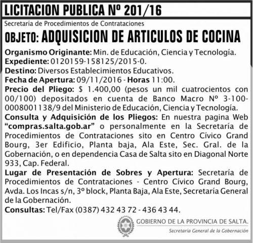 Licitación: Licitación Pública Nº 201/16