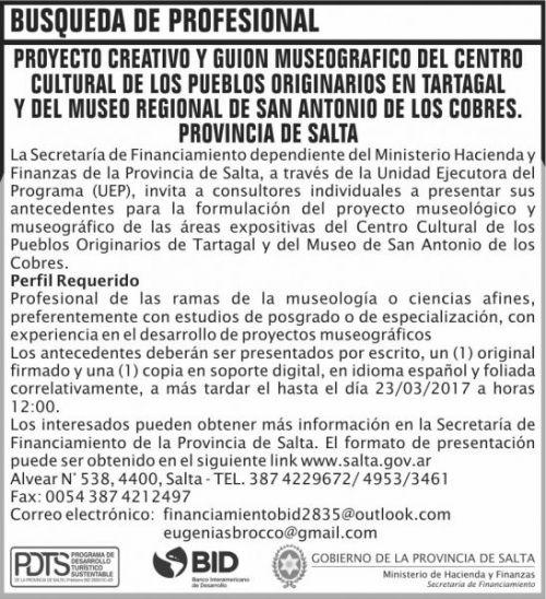 Concurso de Precios: BUSQUEDA DE PROFESIONAL MHF SF