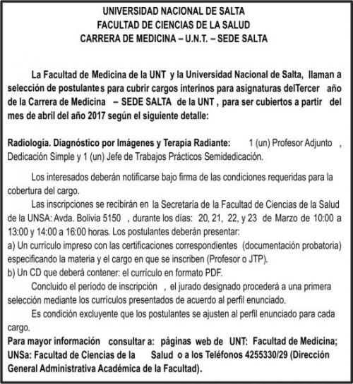 Concurso de Precios: UNIVERSIDAD NACIONAL DE SALTA - FACULTAD DE MEDICINA
