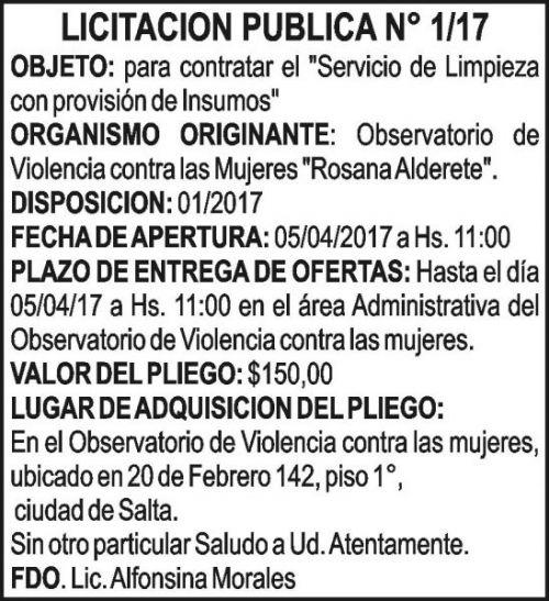 Licitación: LICITACION PUBLICA N° 1/17 OBSERVATORIO